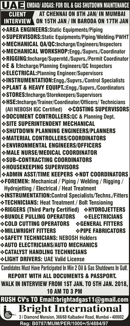 Emdad - Adgas Oil & Gas Shutdown Large Number of Job Vacancies Walkin Interview in Mumbai Baroda Bright International