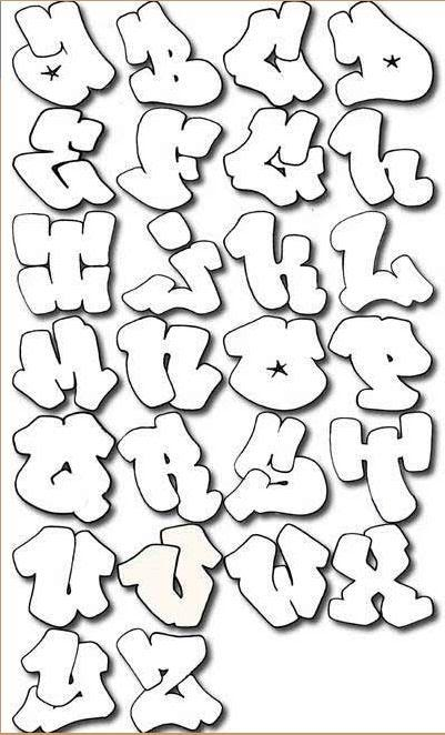 top graffiti art: Airbrush alphabet bubble stencils