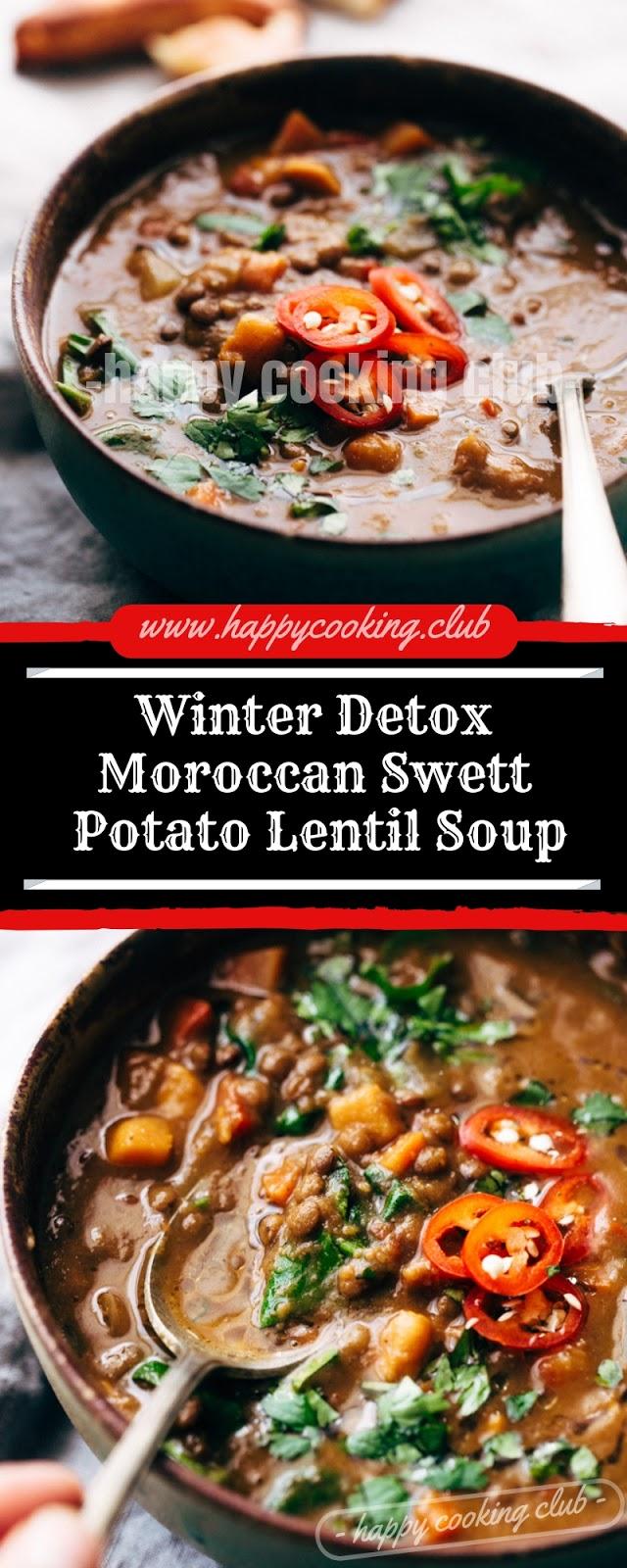 Winter Detox Moroccan Swett Potato Lentil Soup
