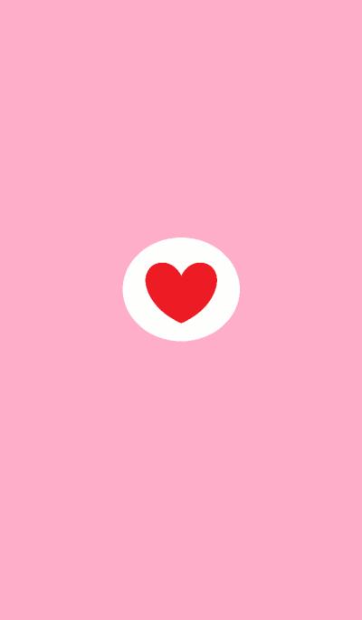 happy Round heart red x pink
