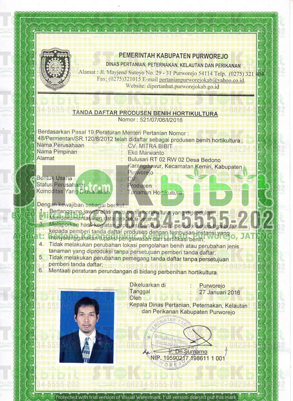 Legalitas STOKBIBIT.COM by CV Mitra Bibit