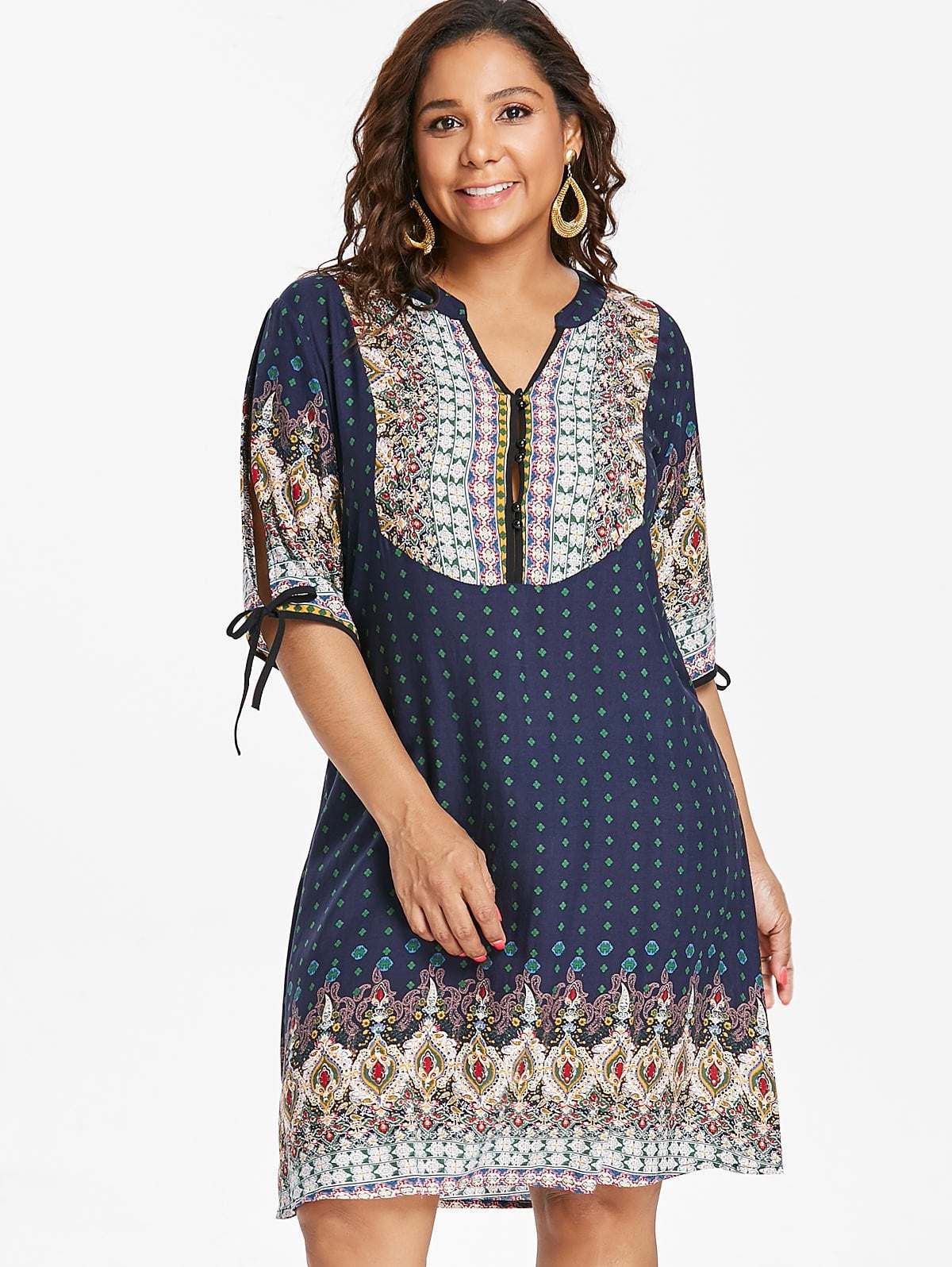 Plus Size Baroque V Neck Dress