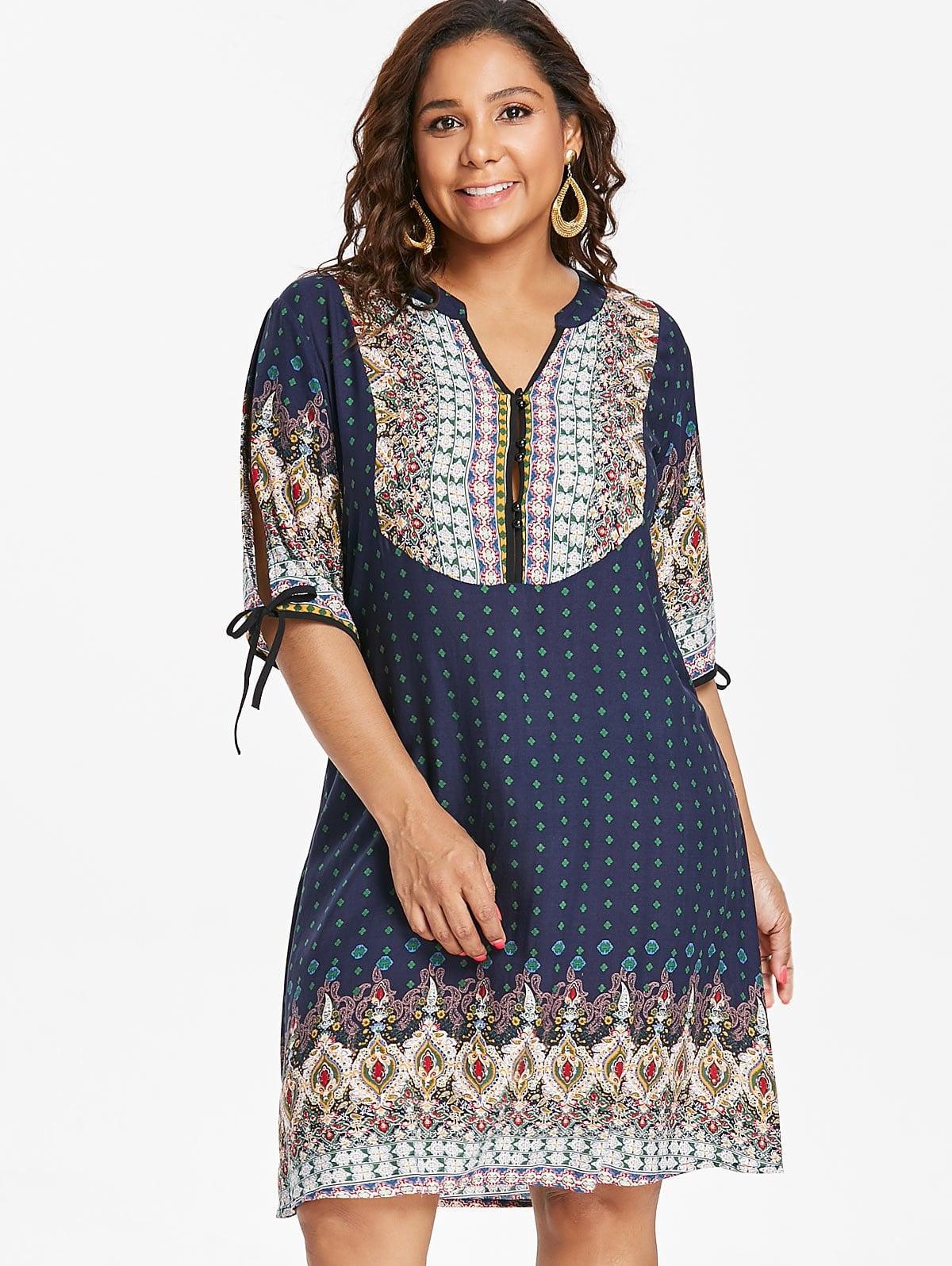 Plus Size Baroque V Neck Dress