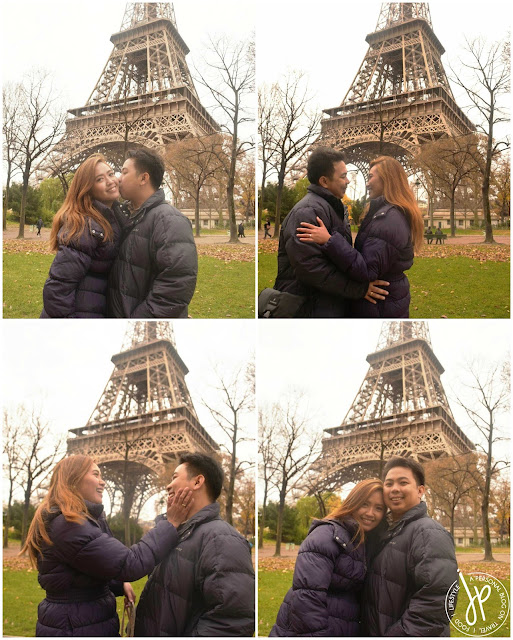 multiple couple photos with eiffel tower in the background