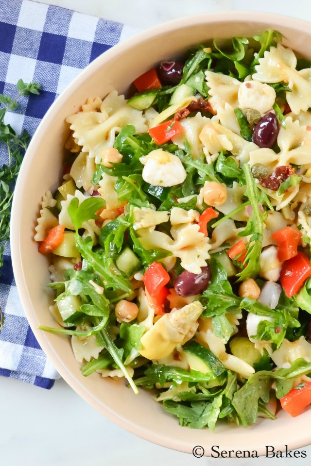 Mediterranean Pasta Salad recipe from Serena Bakes Simply From Scratch.