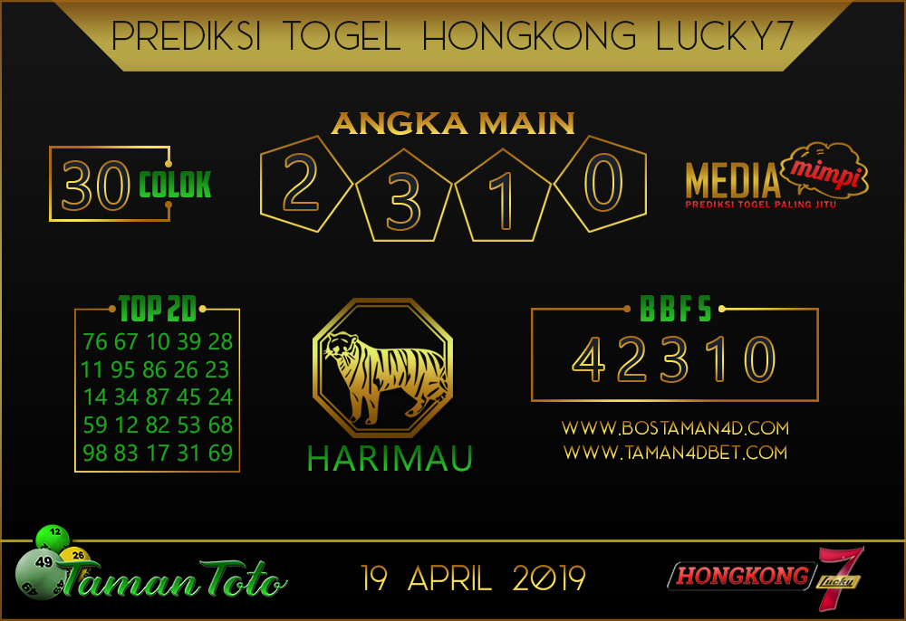 Prediksi Togel HONGKONG LUCKY 7 TAMAN TOTO 19 APRIL 2019