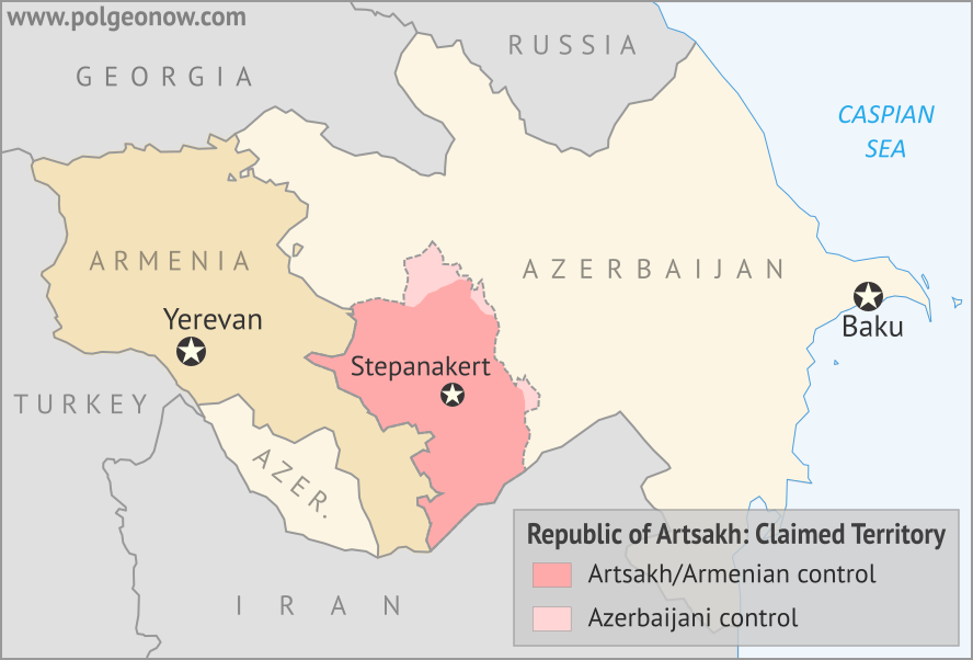Map of the self declared Republic of Artsakh (Nagorno-Karabakh Republic) in relation to Armenia and Azerbaijan. Includes capital cities Yerevan, Baku, and Stepanakert.
