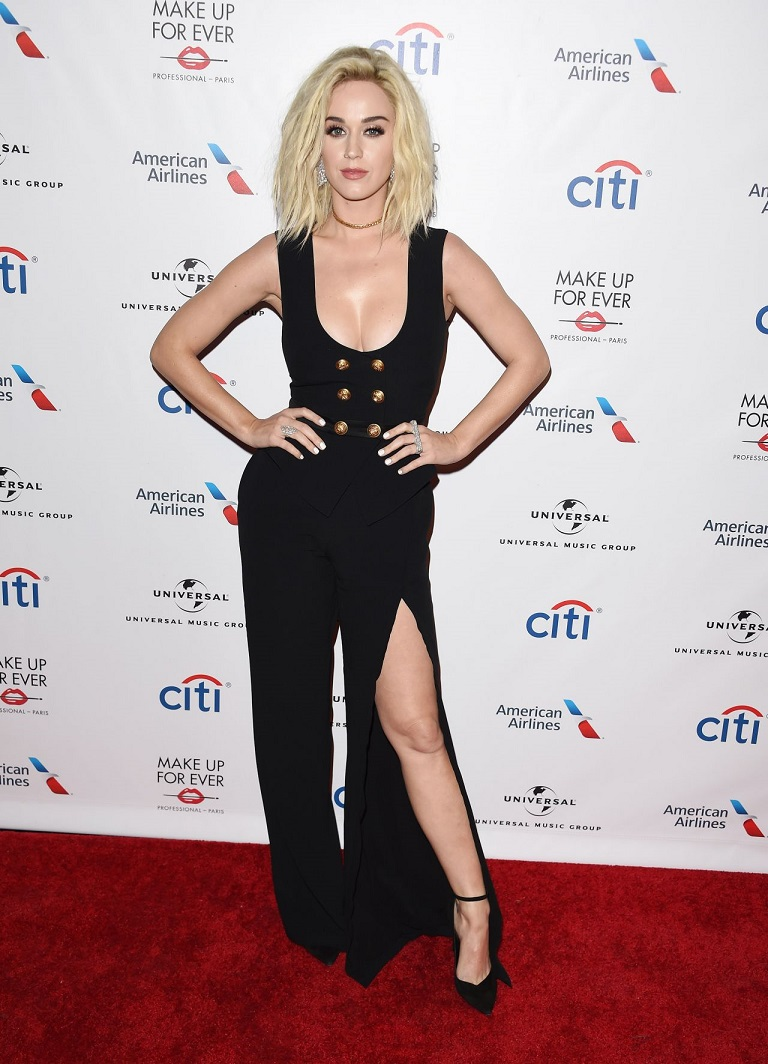 Katy Perry bares cleavage in a Zuhair Murad jumpsuit at the Universal Grammys After Party