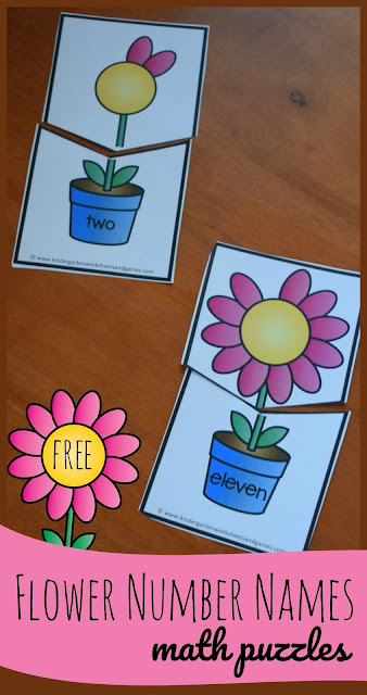 FREE Flower Number Names - these fun, hands on math puzzles are a great way for preschool, prek, kindergarten, and first graders to practice number words from 0-12 and counting at the same time. Perfect for math centers, spring activities, homeschool, home preschool, and summer learning #numbernames #preschool #kindergarten