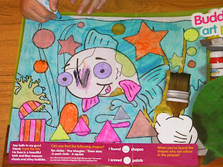 schoolwork colouring in buddy art fish with treasure chest and shapes