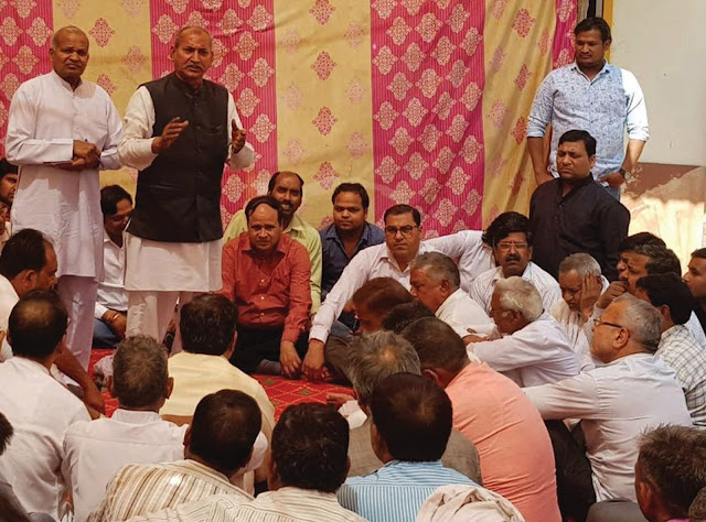 Newly elected Chairman Babu Lal and newly-appointed Prem Singh Nain received a grand reception