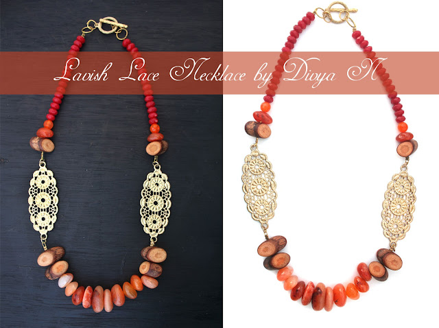 lavish lace necklace with carnelians and red jades