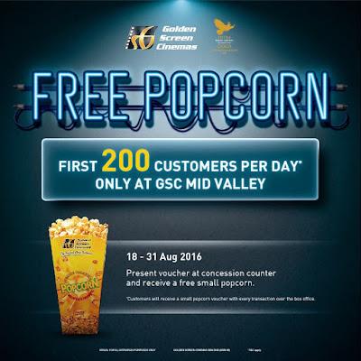 GSC Cinema Free Popcorn Voucher Promo Mid Valley Megamall