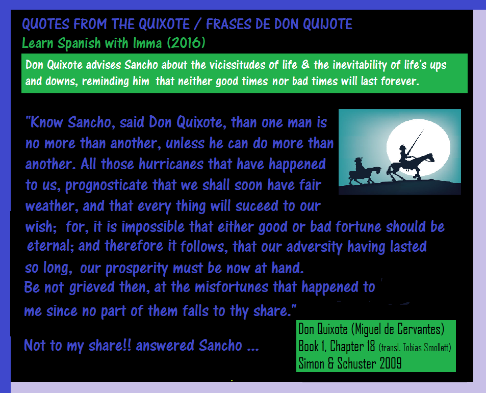 Learn Spanish With Imma Quotes From Don Quixote Chap 18