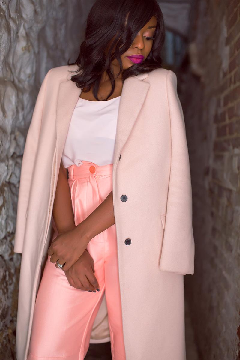 Solace london wide leg pants, pink coat, Christian louboutin, www.jadore-fashion.com