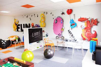 Chillout room, mural 3D, artystyczne malowanie ścian, firmowy pokój wypoczynkowy, aranżacja sali wypoczynkowej chillout room,