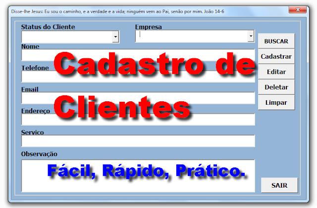 Planilha para cadastrar clientes no Excel