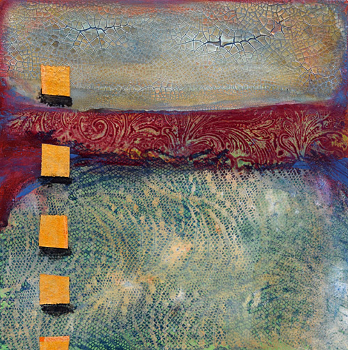 Faux Encaustic, collage, texture