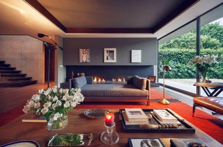 sala estilo moderno chimenea