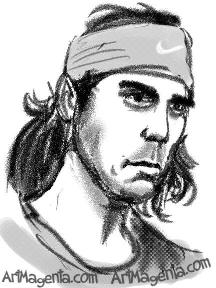Rafael Nadal caricature cartoon. Portrait drawing by caricaturist Artmagenta