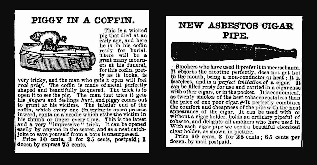 asbestos cigar-pipe & piggy in a coffin advertisements 1890