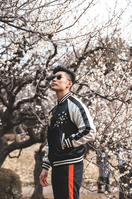 Leo Chan with Cherry Blossoms at Shinjuku Garden Tokyo