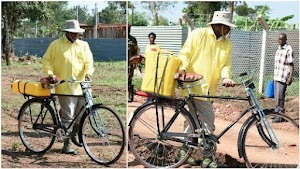 Ugandan President Went to the Stream To  fetch water With a bicycle;Villager Was Amazed -Photos