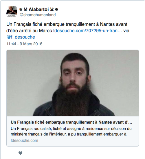 alalumieredunouveaumonde l 39 islamiste qui a pris un avion nantes pour le maroc avec des armes. Black Bedroom Furniture Sets. Home Design Ideas