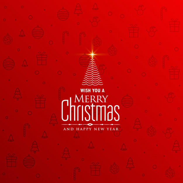 Elegant red christmas background with creative tree design Free Vector