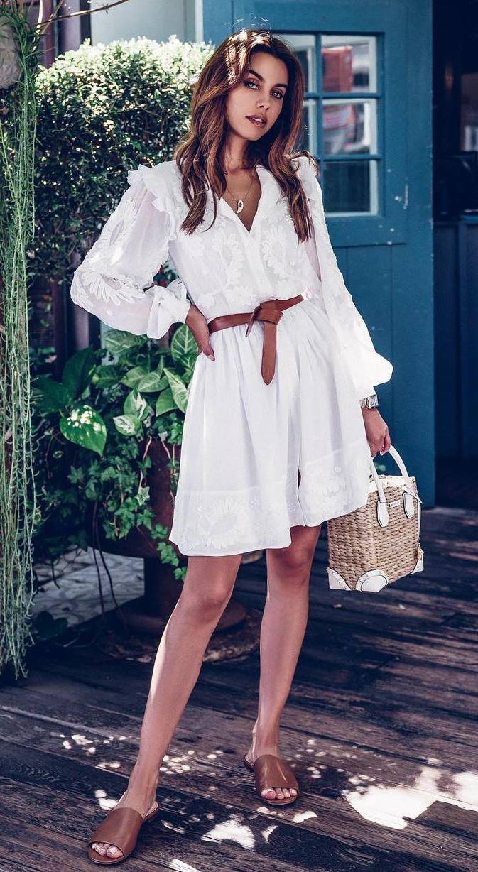 great summer outfit / white dress + brown belt + bag + slides