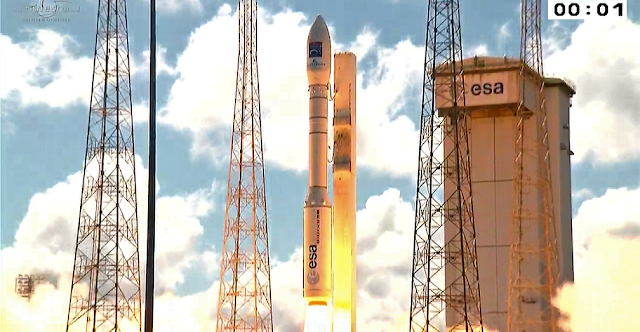 Vega flight VV08 launch with the Göktürk-1 satellite. Image Credit: ESA