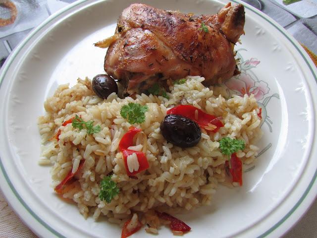 Kurczak pieczony z ryżem