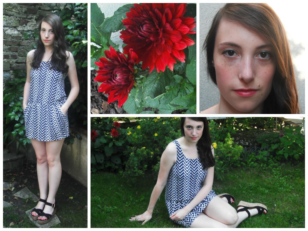 Lookbook été 2014 tenue 5 : robe bleue et blanche, sandales compensées