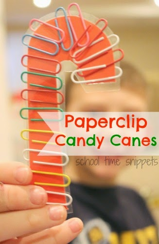 paperclip candy cane patterns fine motor activity school time snippets