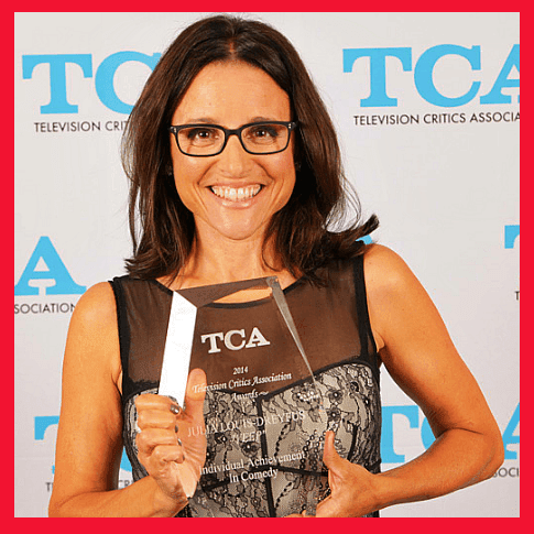Julia Louis-Dreyfus with her TCA award for individual achievement in comedy.