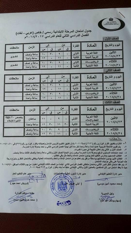جدول امتحانات محافظة بني سويف 2018 آخر العام
