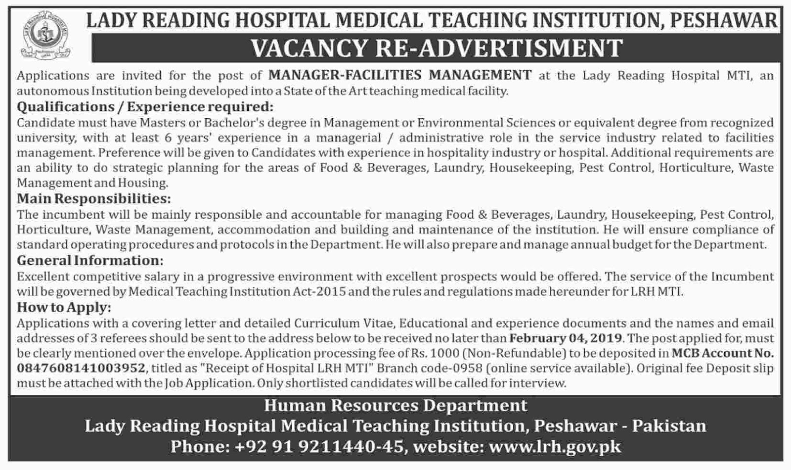 Jobs Vacancies In Lady Reading Hospital 15 January 2019
