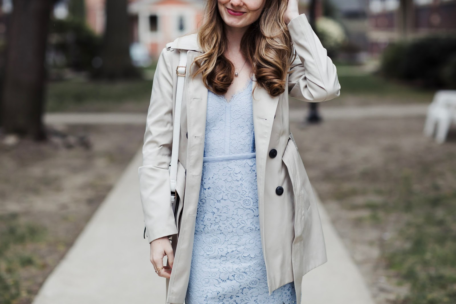 Blue-Lace-Dress-Petite-Trench-Coat
