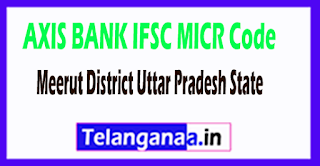 AXIS BANK IFSC MICR Code Meerut District Uttar Pradesh State