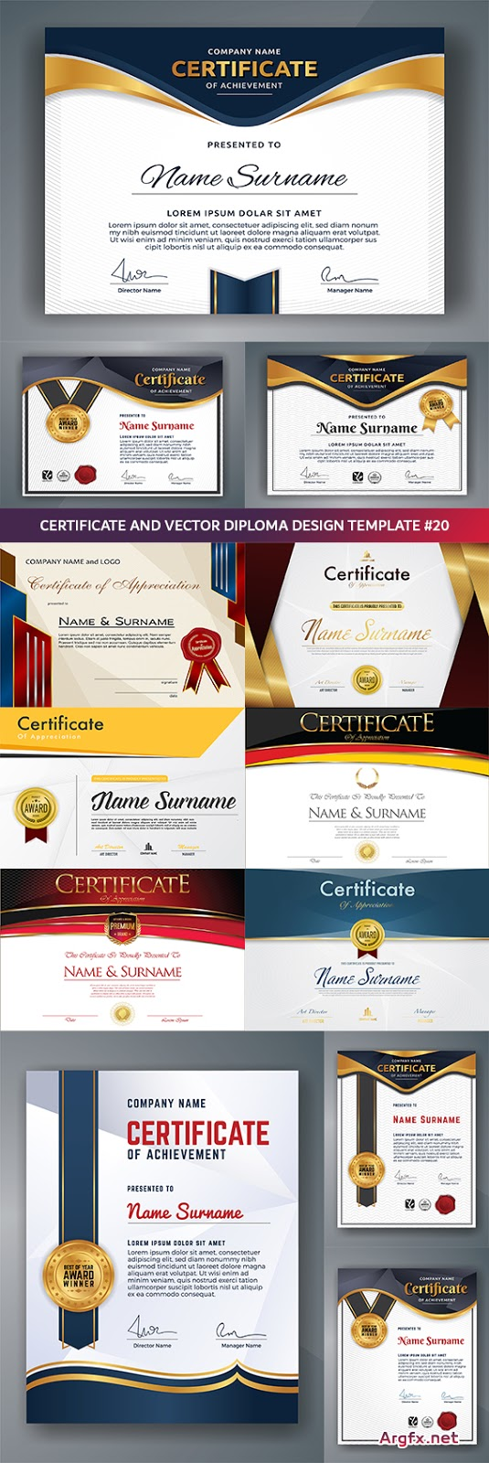 Certificate and vector diploma design template #20