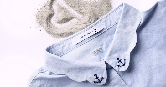 Anchor girl : DIY broder un col de chemise