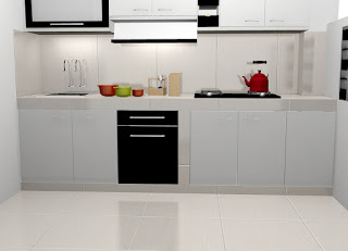 Kitchen Set Lurus Warna Hitam Putih - Kitchen Set Semarang