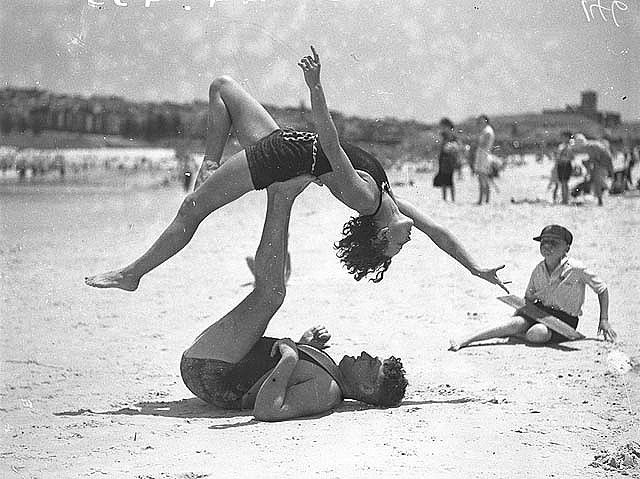 Mr j prentice and miss j howat doing acrobatics bondi beach jan 1935 by ted hood