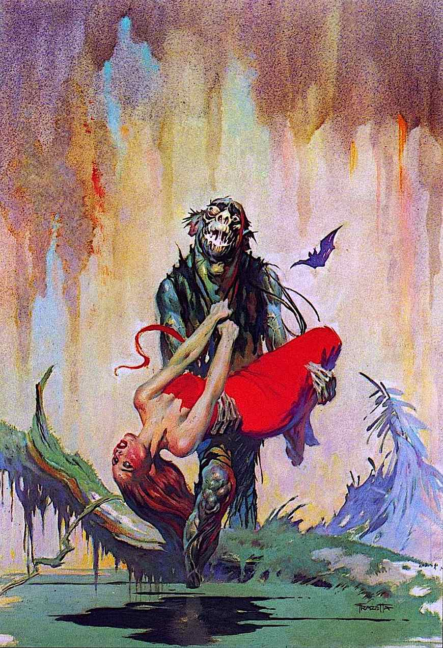 "Frank Frazetta 1960s paperback cover art for an Edgar Rice Burroughs book, ""The Monster men"""