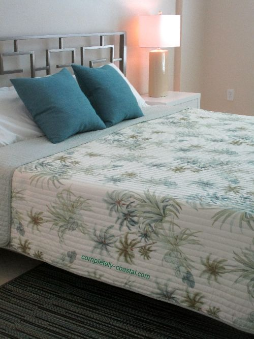 Tommy Bahamas Palms Quilt on King Bed