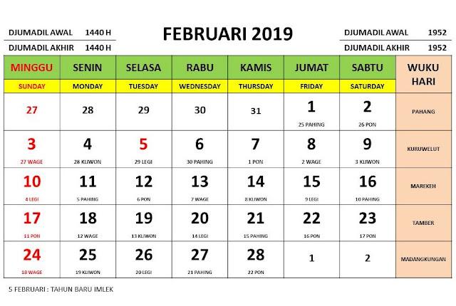 kalender wisata bulan fabruari 2019