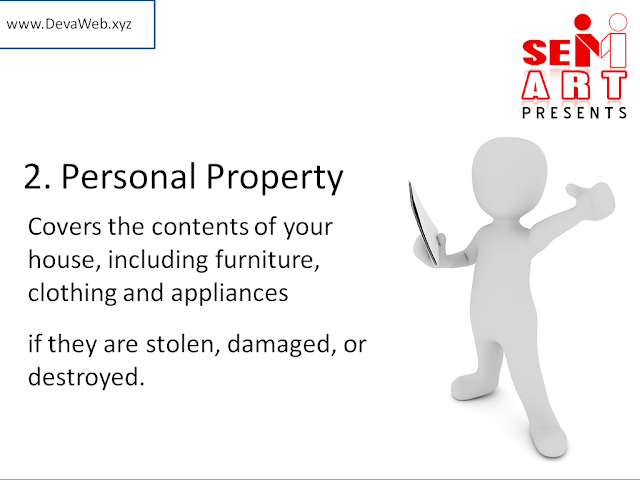 Covers the contents of your house, including furniture, clothing and appliances if they are stolen, damaged, or destroyed.