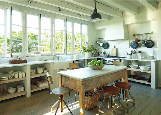 Modern farmhouse kitchen in French Country farmhouse by Eleanor Cummings (found on Hello Lovely)