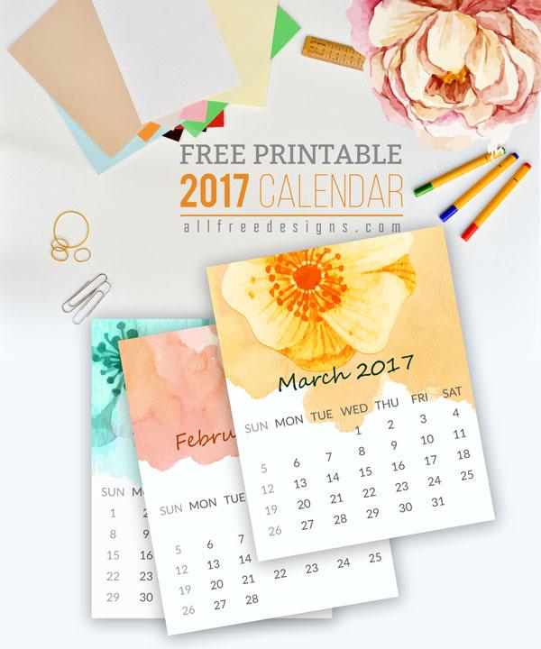 piękny kalendarz 2017 do druku do pobrania za darmo allfreedesigns