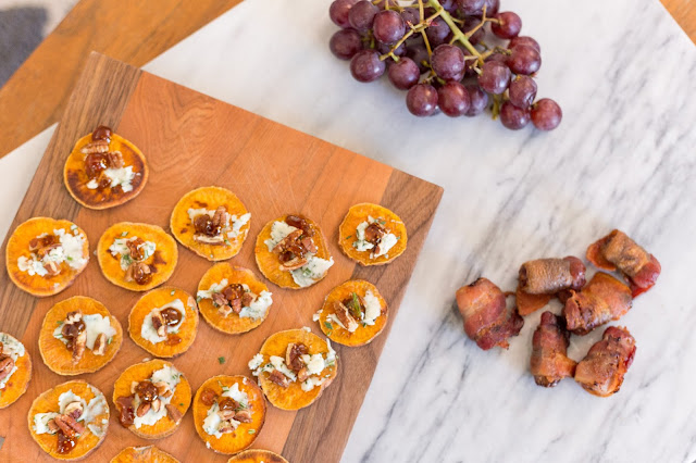sweet potato crostinis with blue cheese, pecans, rosemary and fig spread!